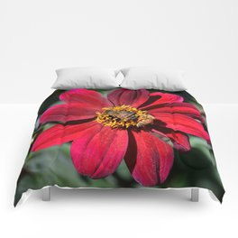 Two Bees on a Red Dahlia Comforters