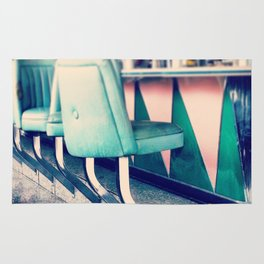 Retro Diner Photograph, kitchen art, restaurant decor, shabby chic, vintage, pastels, mint and pink Rug