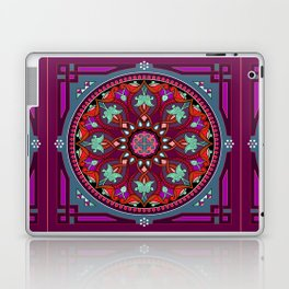 Boho Floral Crest Red and Purple Laptop & iPad Skin