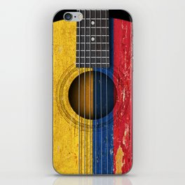 Old Vintage Acoustic Guitar with Colombian Flag iPhone Skin