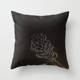 Black and White Alpinia purpurata – Red Ginger Flower, Bogota, Colombia Throw Pillow