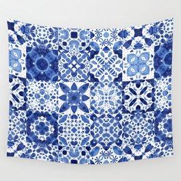 Indigo Watercolor Tiles Wall Tapestry