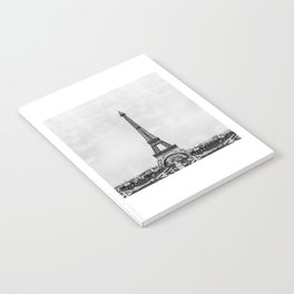 Eiffel tower, Paris France in black and white with painterly effect Notebook