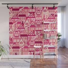Pink Little Town Wall Mural