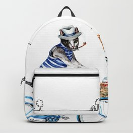 Cat on a Blue Bicycle Backpack