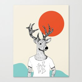 Triangle Deer T with color Canvas Print