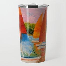 Sailboats on the river Travel Mug