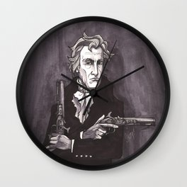 Andrew Jackson with his dueling pistols Wall Clock