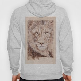 Lion Portrait - Drawing by Burning on Wood - Pyrography Art Hoody