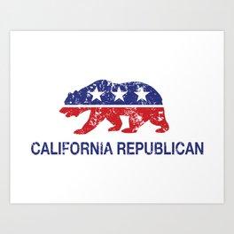 California Political Republican Bear Distressed Art Print