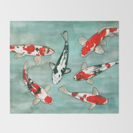 Le ballet des carpes koi Throw Blanket