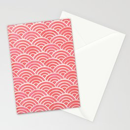 Japanese Seigaiha Wave Pattern – Coral Stationery Cards