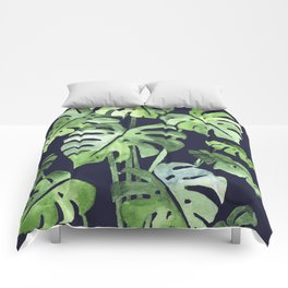 Delicate Monstera Blue #society6 Comforters