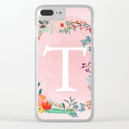 Flower Wreath with Personalized Monogram Initial Letter T on Pink Watercolor Paper Texture Artwork Clear iPhone Case