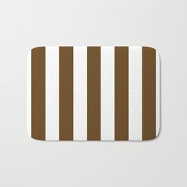 Pullman Brown (UPS Brown) - solid color - white vertical lines pattern Bath Mat