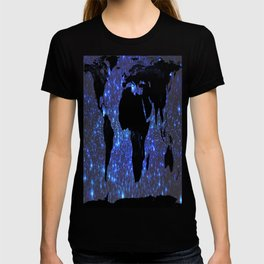 World Map : Blue Galaxy Stars T-shirt