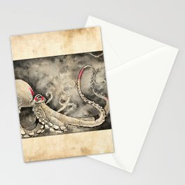 Octopus red square antique Stationery Cards