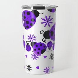 Cute Ladybugs Purple Travel Mug