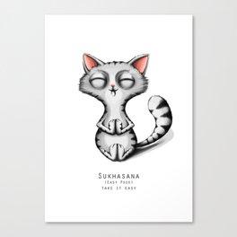 yoga cat sukhasana Canvas Print
