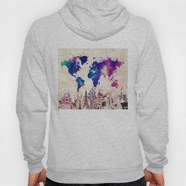 world map city skyline galaxy 2 Hoody