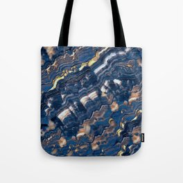 Blue marble with Golden streaks Tote Bag