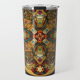 Mandala Sacred Rams - Dark Version Travel Mug