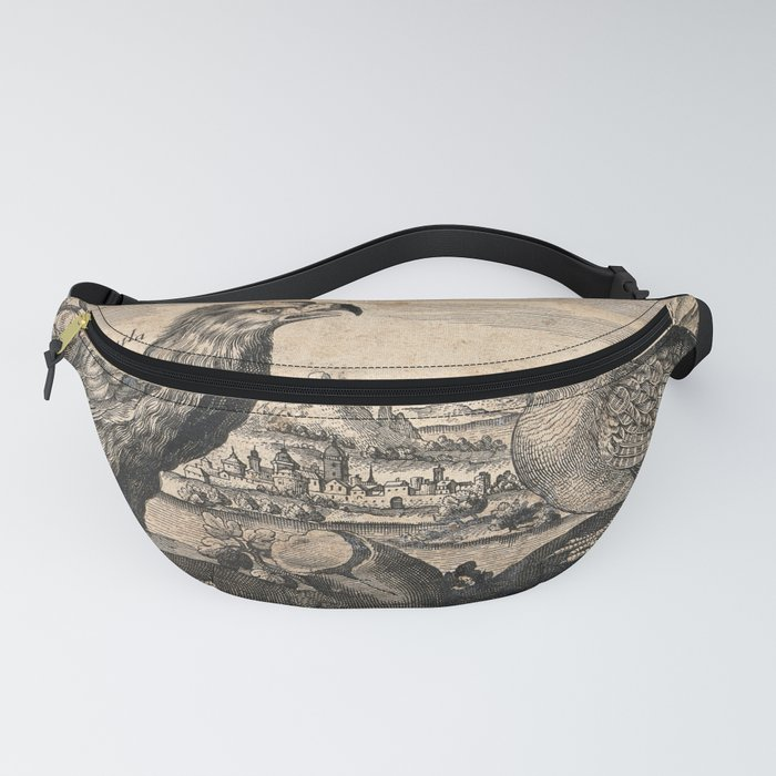 An eagle and partridge set in a landscape. Etching, 17th century. Fanny Pack