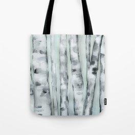 Birch trees in winter Tote Bag