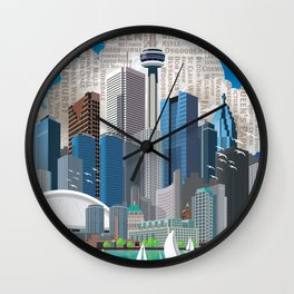 Toronto Skyline wide Wall Clock