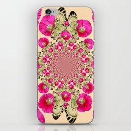 modern art cerise pink hollyhock & yellow butterflies iPhone Skin