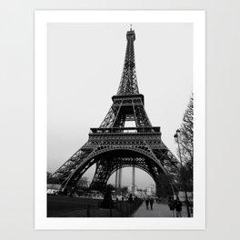 Eiffel Tower - black and white Art Print