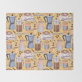 Coffee Love on Yellow Throw Blanket