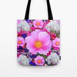 MODERN ART FUCHSIA ROSES  WHITE FLORAL GARDEN Tote Bag