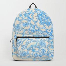 Pale Blue Pencil Pattern - hand drawn lace mandala Backpack