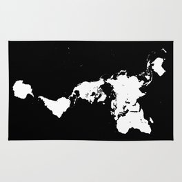 Dymaxion World Map (Fuller Projection Map) - Minimalist White on Black Rug