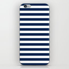 Slate blue and White Thin Stripes - Navy Nautical Pattern iPhone Skin