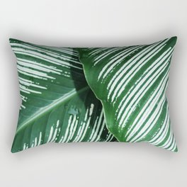 Green Tropical Leaves with White Stripes Closeup Rectangular Pillow