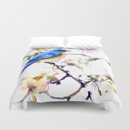 Bluebird and Dogwwod Duvet Cover