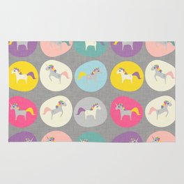 Cute Unicorn polka dots grey pastel colors and linen texture #homedecor #apparel #stationary #kids Rug