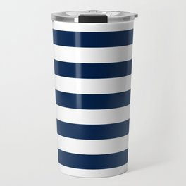 Slate Blue and White Stripes  - Navy Nautical Pattern Travel Mug