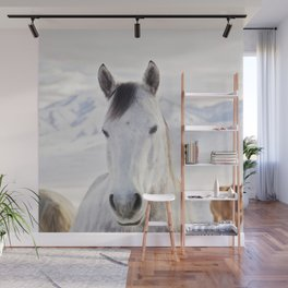 Rustic Winter Horse Wall Mural