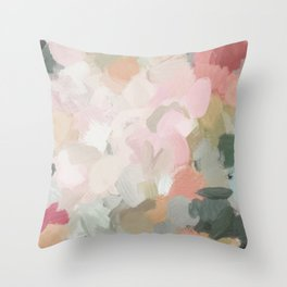 Forest Green Fuchsia Blush Pink Abstract Flower Spring Painting Art Throw Pillow