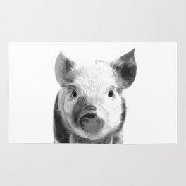 Black and white pig portrait Rug