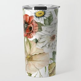 Wildflower Bouquet on White Travel Mug