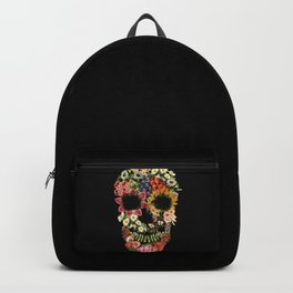 Floral Skull Vintage Black Backpack