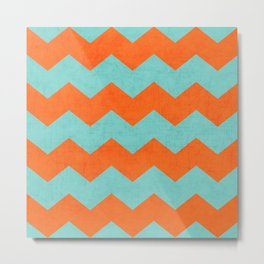 chevron - teal and orange Metal Print