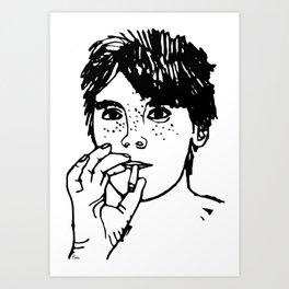 Boy with cigarette Art Print