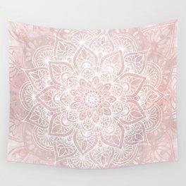 Mandala Yoga Love, Blush Pink Floral Wall Tapestry