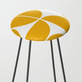 Mid Century Modern Yellow Square Counter Stool