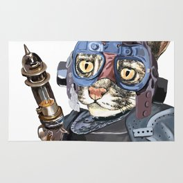 Naughty Pilot Cat with Laser Gun and Heavy Armor Rug
